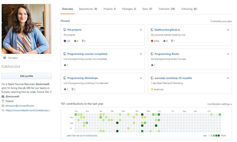 Ela Moscicka's GitHub profile