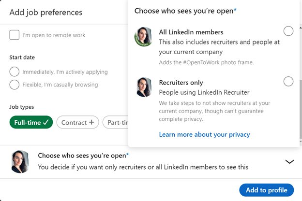 LinkedIn 'open to new opportunities option