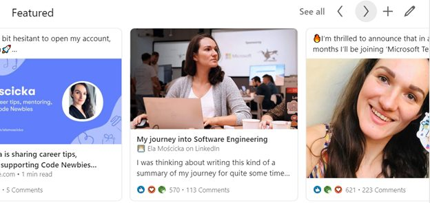 Ela Moscicka's 'featured' section on LinkedIn profile