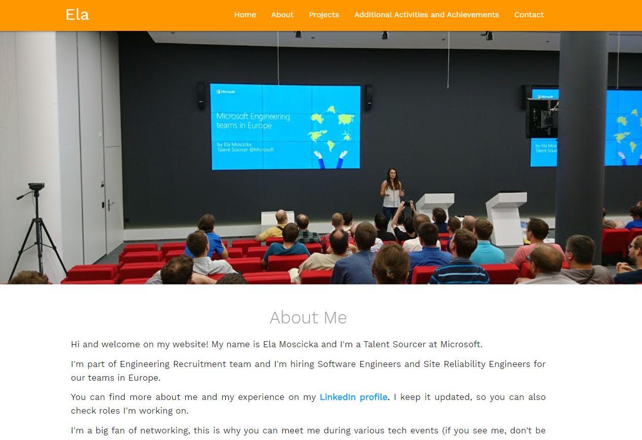 Ela Moscicka during presentation at Microsoft Prague office